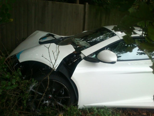 McLaren MP4-12C crashes near McLaren headquarters in Woking, UK