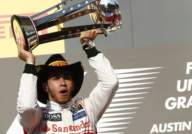 McLaren's Lewis Hamilton after winning the 2012 Formula One United States Grand Prix