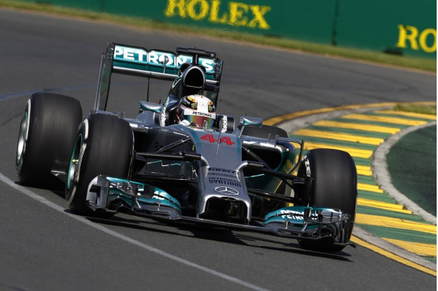 Mercedes AMG's Lewis Hamilton at the 2014 Formula One Australian Grand Prix