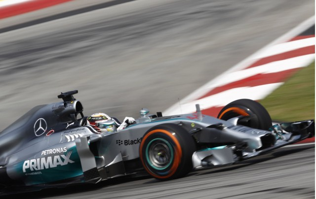 Mercedes AMG's Lewis Hamilton at the 2014 Formula One Malaysian Grand Prix