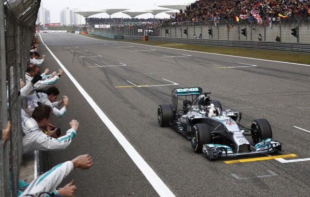 Mercedes AMG's Lewis Hamilton wins the 2014 Formula One Chinese Grand Prix