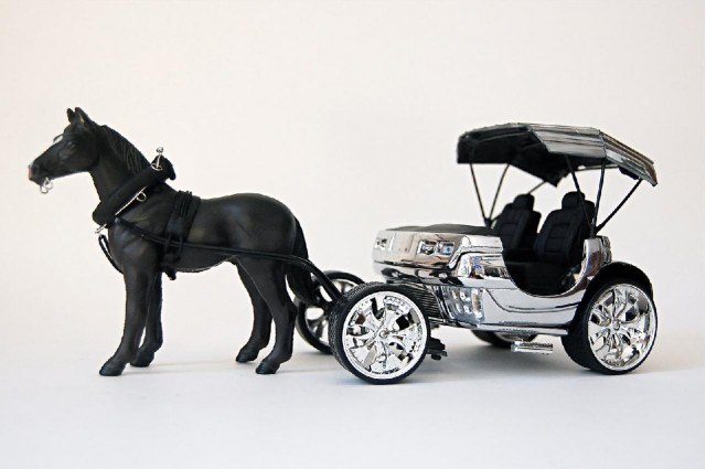 Model of Cadillac Escalade horse carriage by artist Jeremy Dean for his work,