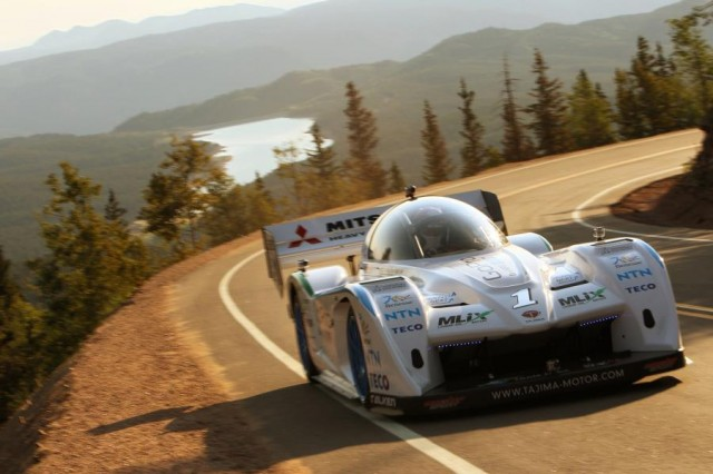 Monster Tajima in the Sport E-RUNNER electric Pikes Peak car.