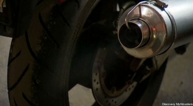 Motorcycle exhaust pipe, courtesy of Discovery Channel Mythbusters
