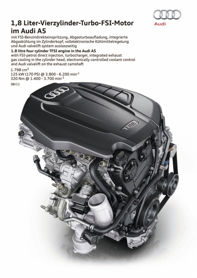 New 1.8 TFSI turbocharged four-cylinder for the Audi A5