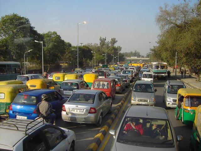 New Delhi traffic, by Flickr user denisbin (Used under CC License)