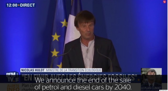 Nicolas Hulot, French minister of ecological transition, announces 2040 ban on vehicles with engines