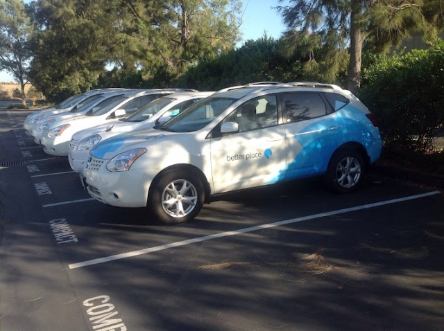 Nissan battery-switch prototype development vehicles, Better Place, Palo Alto, CA, July 2012
