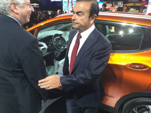 Nissan CEO Carlos Ghosn with GM's Larry Nitz at 2017 Chevrolet Bolt EV debut  [photo: Gary Lieber]