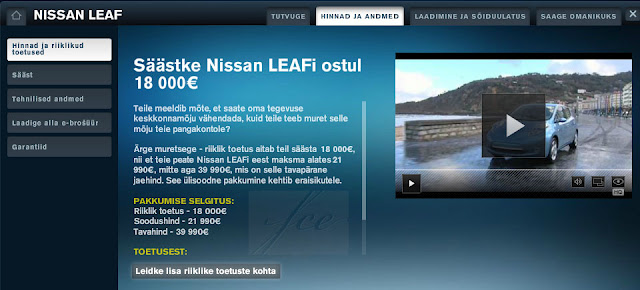 Nissan Leaf €18,000 incentive shown on Nissan website for Estonia