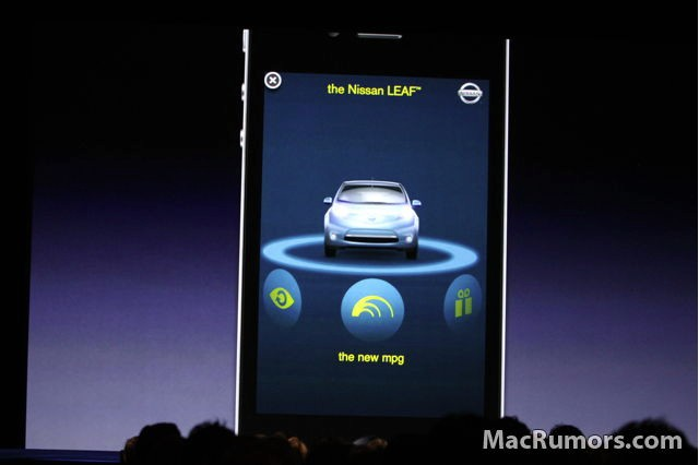Nissan Leaf iAd application on iOS4 by Apple.