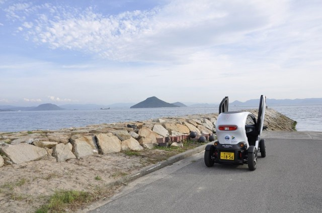 Nissan New Mobility Concept (Twizy) on the island of Teshima, Japan (Image: Nissan EV on Facebook)
