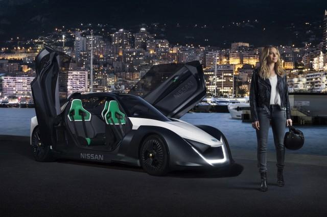 Margot Robbie and the Nissan BladeGlider in Monaco