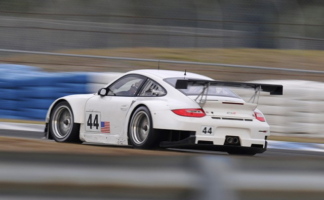 No. 44 Flying Lizard Porsche tests at Sebring - Chapman/Autosport Image