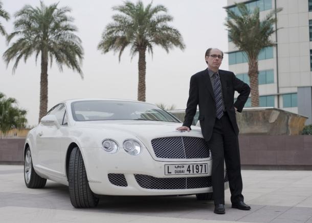 Novelist Jeffery Deaver with James Bond's newest ride, the Bentley Continental GT