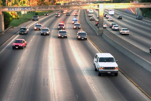 O.J. Simpson chased by police in his Ford Bronco