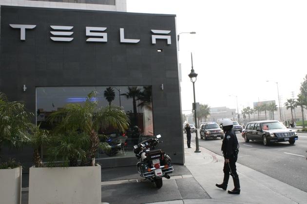 Obama drives by Tesla, via Edmunds