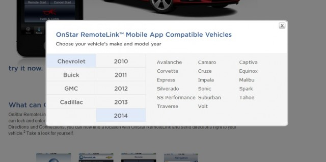 OnStar vehicle compatibility guide lists 2014 Chevrolet SS Performance