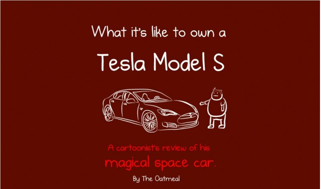 Opening graphic on The Oatmeal cartoon describing the joys of owning a Tesla Model S electric car
