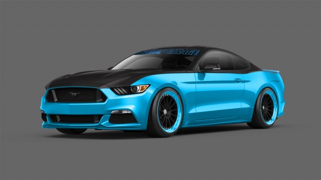 pair of modified 2015 ford mustangs revealed ahead of 2014 sema show. Black Bedroom Furniture Sets. Home Design Ideas