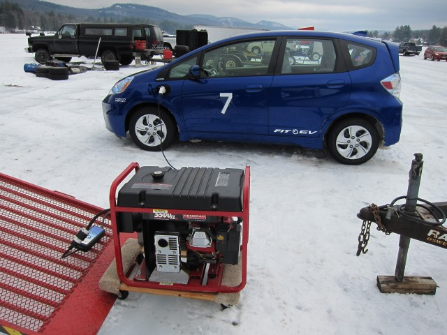 Photo contest winner: 2013 Honda Fit EV charging on surface of Algonquin Lake, Wells, NY [Mike Kamm]