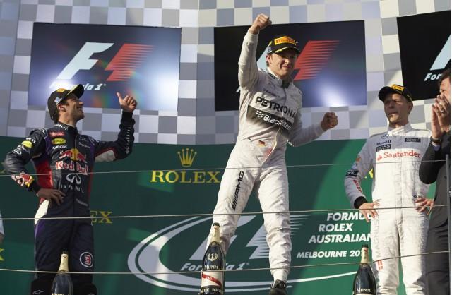 Podium at the 2014 Formula One Australian Grand Prix