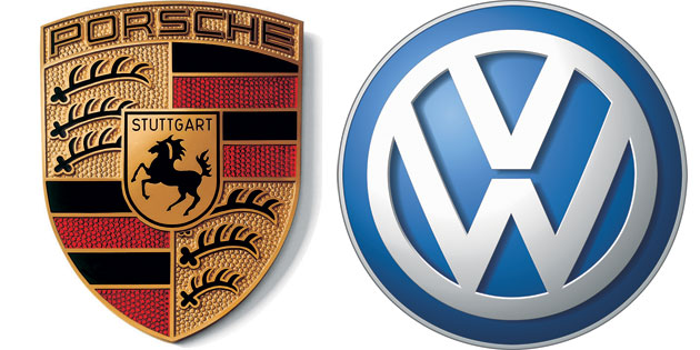 Porsche logo and VW logo