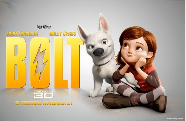 Poster for 'Bolt' movie starring John Travolta and Miley Cyrus (2008)