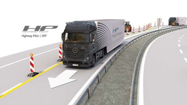 Production-ready Mercedes-Benz Actros truck fitted with Highway Pilot autonomous driving system