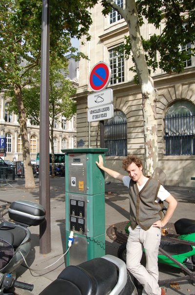 Project EViE's Matt Vance at electric-vehicle charging station in Paris