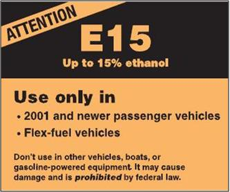 Proposed EPA E15 gasoline pump warning label for ethanol content