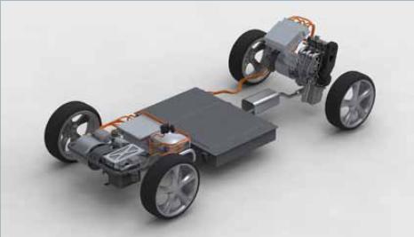 Proton Concept platform showing battery pack and Lotus range-extender engine, 2010 Geneva Motor Show
