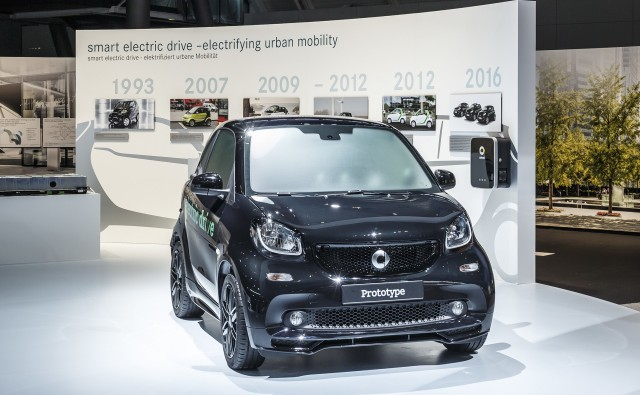 Prototype for new Smart ForTwo Electric Drive debuting at 2016 Paris Auto Show