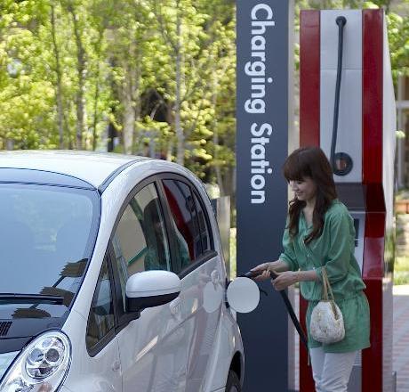 Public Charging Station for electric cars, courtesy Mitsubishi Motors