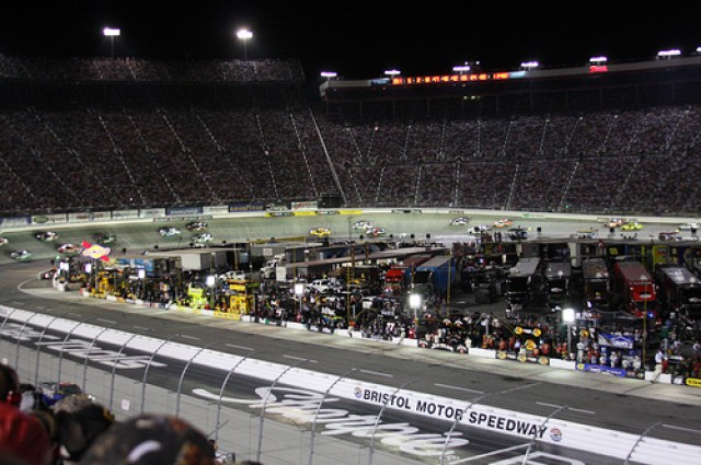 Racing at Bristol is so bright, you gotta put on lights. Photo courtesy of Flickr user wjarrettc.