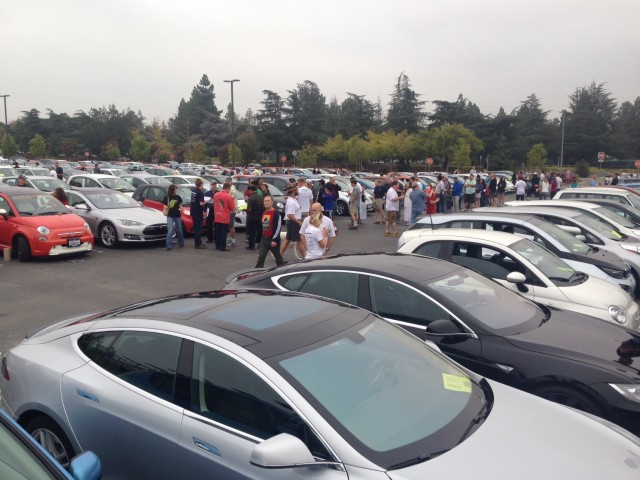 Record-breaking electric-car parade in Cupertino, California. Photo courtesy of Plug In America.