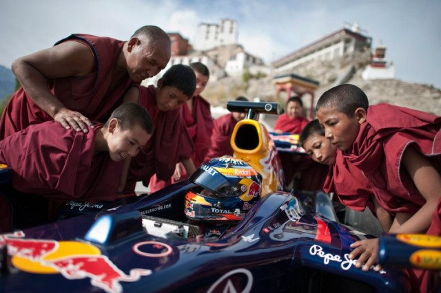 Red Bull F1 showcar drives the world's highest road