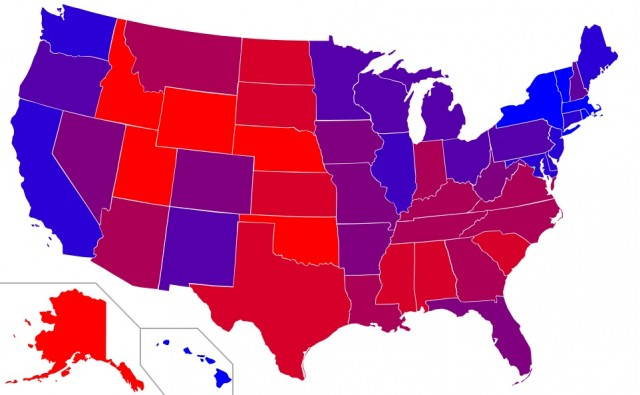 Red states and blue states: Average margin of presidential victory, 1992 through 2008 [Wikipedia]