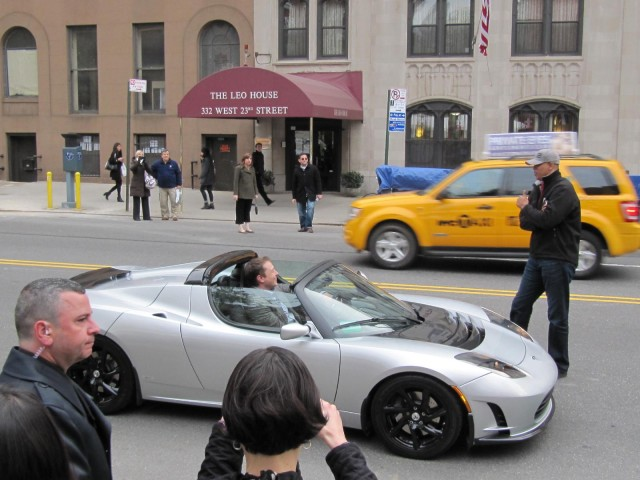 'Revenge of the Electric Car' premiere: Elon Musk arrives in a Tesla Roadster
