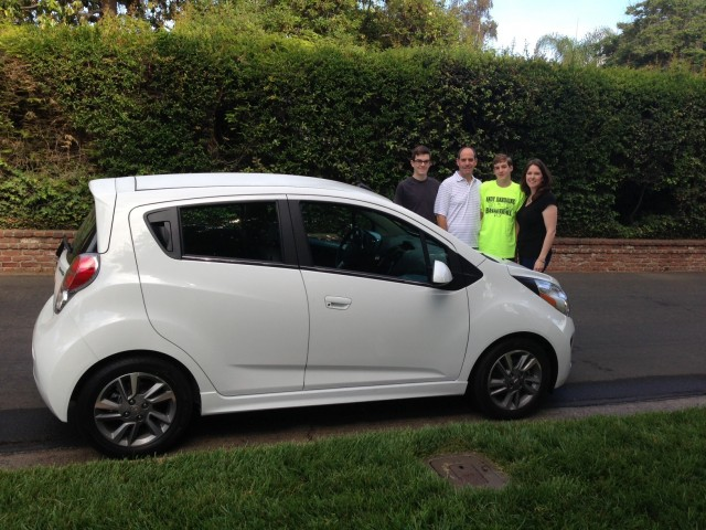 Alex, Rick, David & Christine Prell with new 2014 Chevrolet Spark EV, Studio City, CA