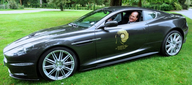 Roger Moore in the Aston Martin DBS