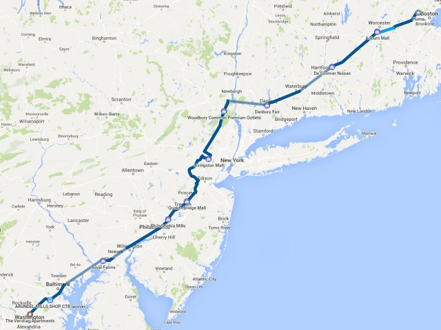 Route from Boston to Silver Spring, Maryland [graphic: John Briggs]