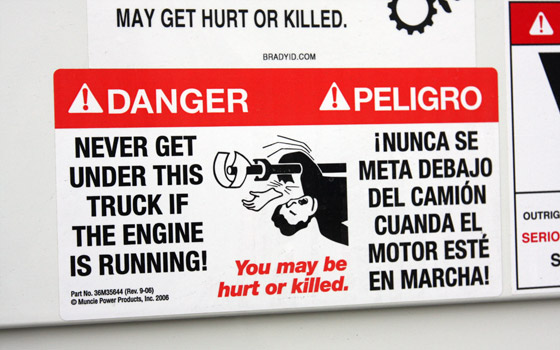 Running driveline warning sticker via PickupTrucks.com