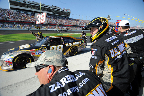 Ryan Newman's crew services his No. 39 Army Chevy. Photo courtesy of Flickr user U.S. Army.