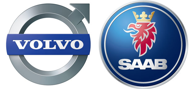 Saab and Volvo logos