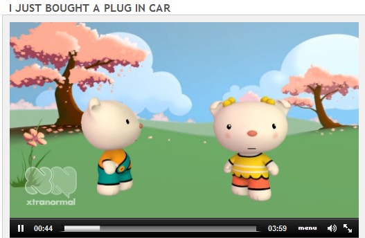 "Screen capture from Xtranormal animation, ""I just bought a plug-in car,"" by Jeff U'Ren"