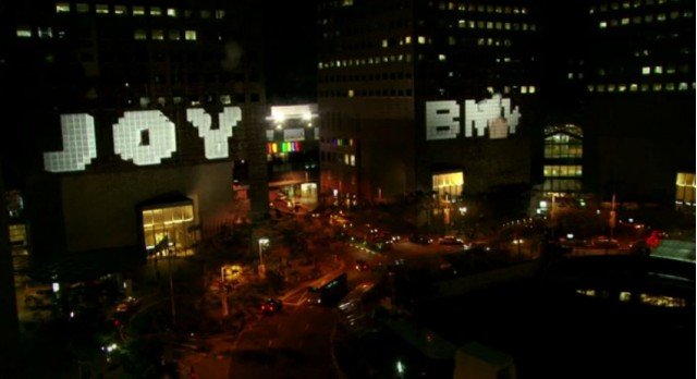 Screencap from BMW 'interactive' building projection in Singapore