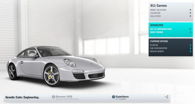 Screencap from Porsche DNA microsite