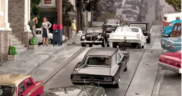 Screencap from Steve Day's recreation of the Bullitt car chase