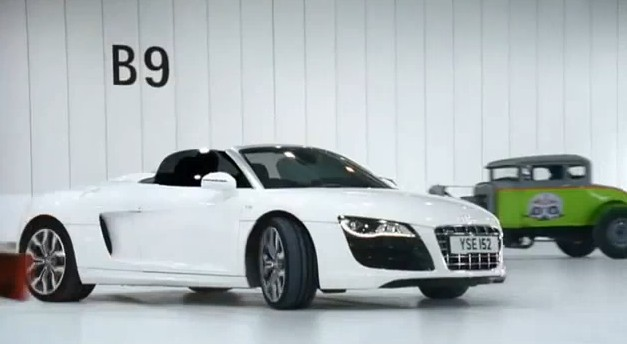 Screencap from the Audi R8 Spyder 'Beauty and the Beasts' ad